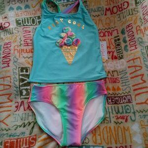 Girls 2 Piece Swim Suit Stay Cool Unicorn Colors L